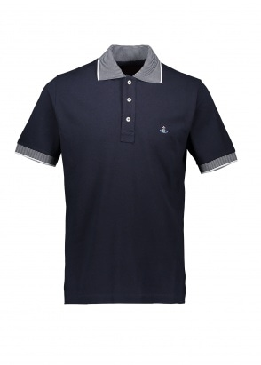 Vivienne Westwood Mens Stripe Collar Polo - Navy