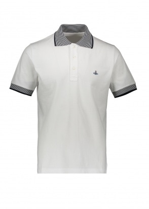 Vivienne Westwood Mens Stripe Collar Polo - White