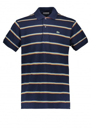 Lacoste Stripe Polo - Navy Blue