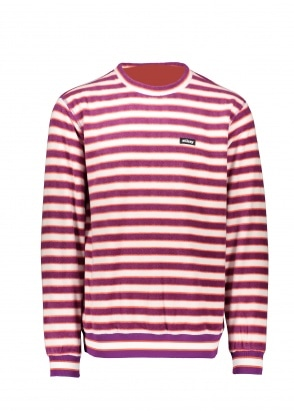 Stussy Striped Polar Fleece Crew - Berry