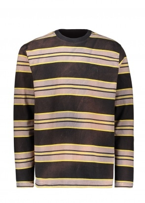 Stussy Bleach Stripe LS Crew - Black