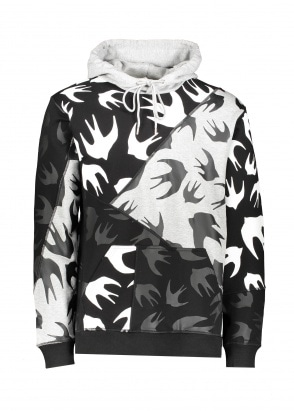 McQ Swallow Swallow Hooded Top - Black / Mercury