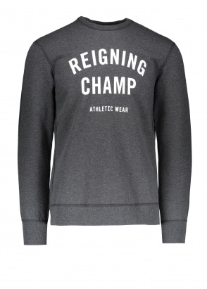 Reigning Champ Terry Gym Logo Crew Neck - Charcoal
