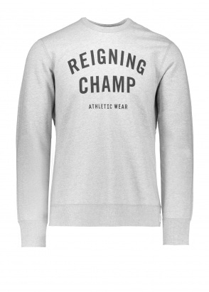 Reigning Champ Terry Gym Logo Crew Neck - Grey / Black