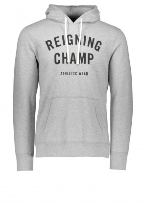 Reigning Champ Terry Gym Logo Hoodie - Grey / Black