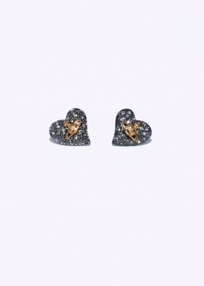 Vivienne Westwood Accessories Tiny Diamante Heart Studs - Copper