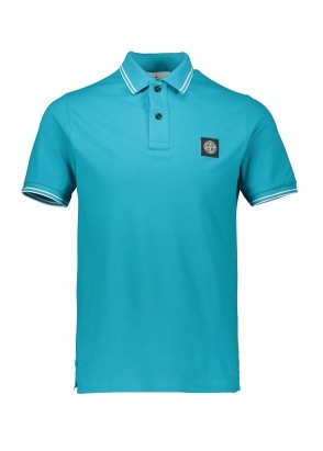 Stone Island Trim Patch Polo - Turquoise