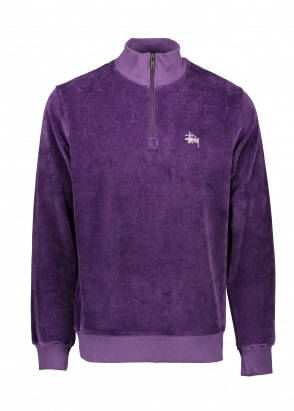 Stussy Velour LS Zip Mock - Purple