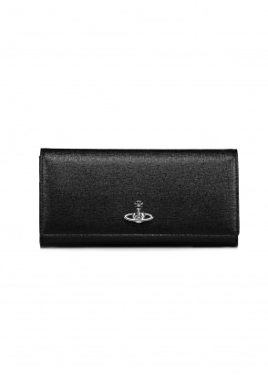 Vivienne Westwood Accessories Saffiano Credit Card Wallet - Black