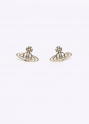Vivienne Westwood Accessories Thin Lines Orb Studs - Yellow Gold