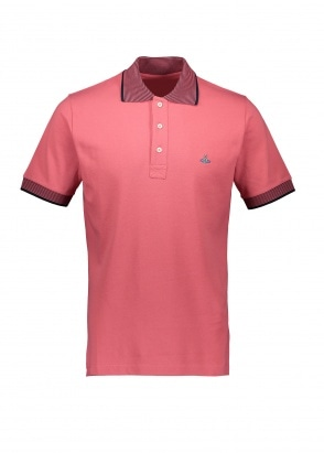 Vivienne Westwood Mens Stripe Collar Polo - Pink