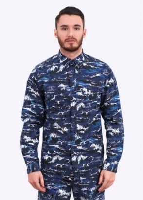 Barbour Wave Shirt - Blue Wave Print