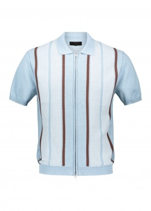 Beams Plus Zip Knit Polo Stripe - Sax