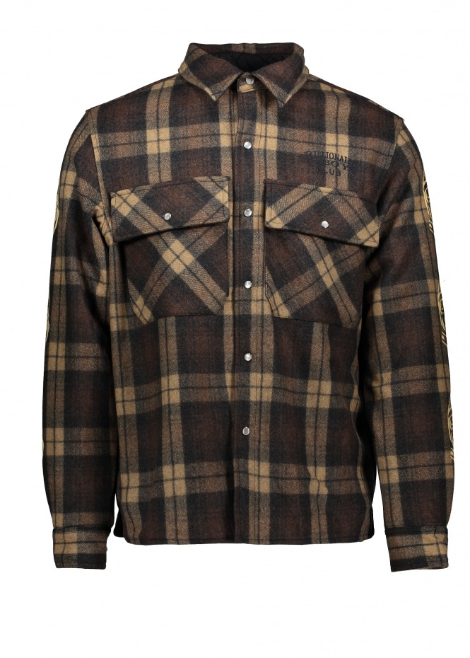 Billionaire Boys Club Quilted Check Shirt Brown S
