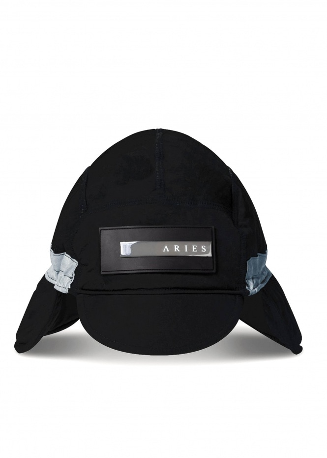 Aries Quilted Nylon Hat - Black