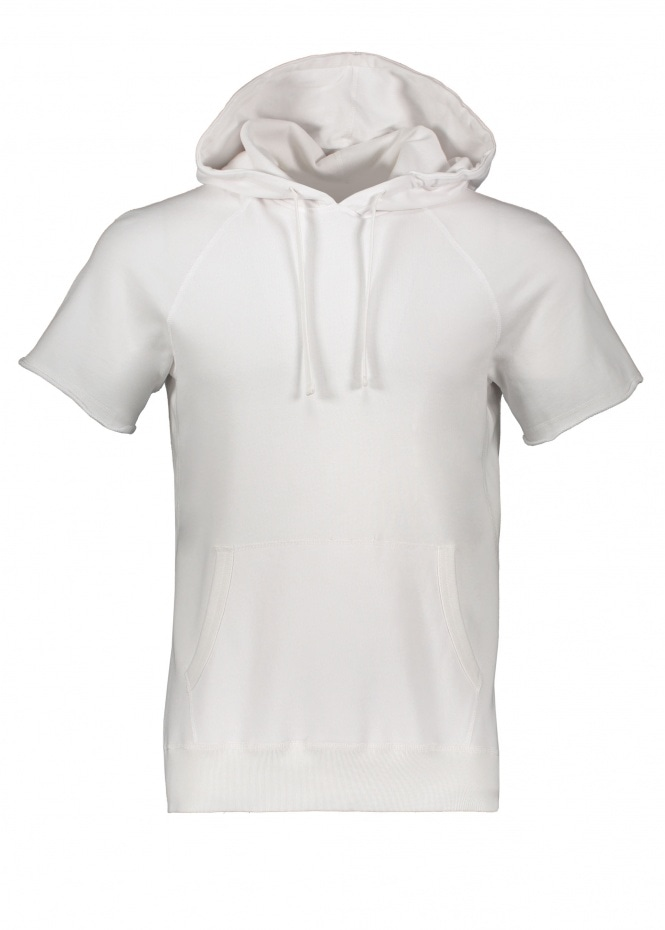 Terry Cut Off Hoodie - White