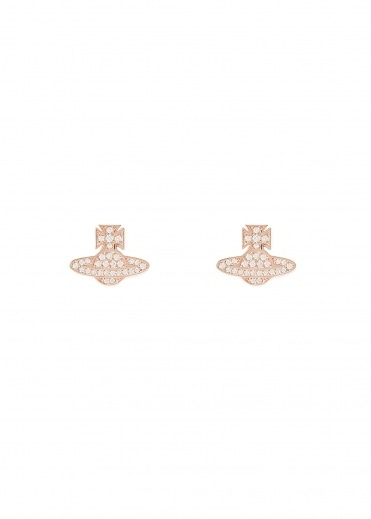 Vivienne Westwood Accessories Romina Pave Orb Earrings - Pink Gold