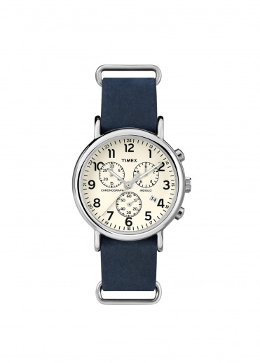 Timex Round St Case Watch - Slate Blue
