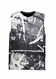 Snow Peak RY Printed Middle Down Vest - White / Black