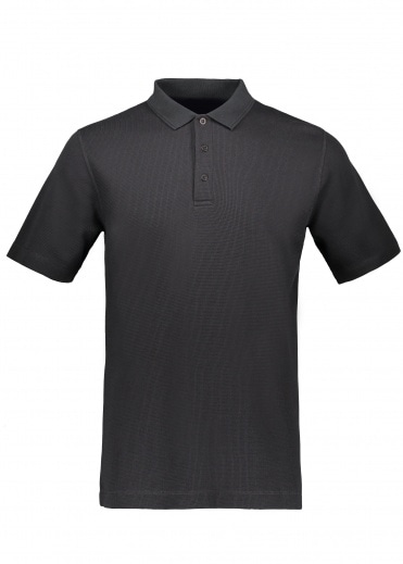 Sunspel Short Sleeve Waffle Polo - Black