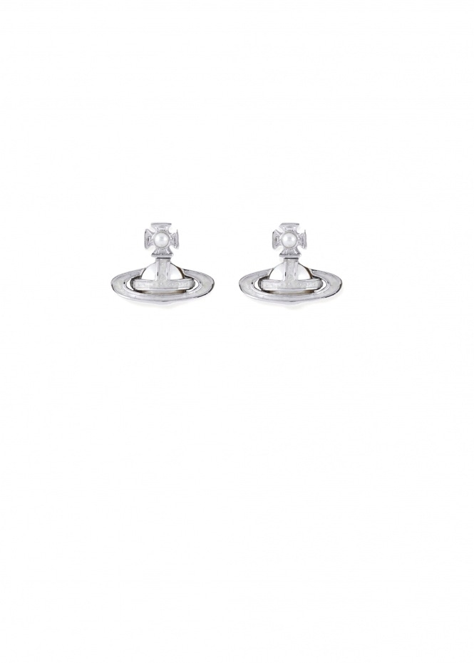 Simonetta Bas Relief Earrings- Rhodium / Crystal