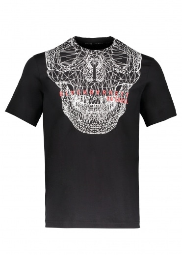 BLACKBARRETT by Neil Barrett Skull Mesh T-Shirt - Black / White