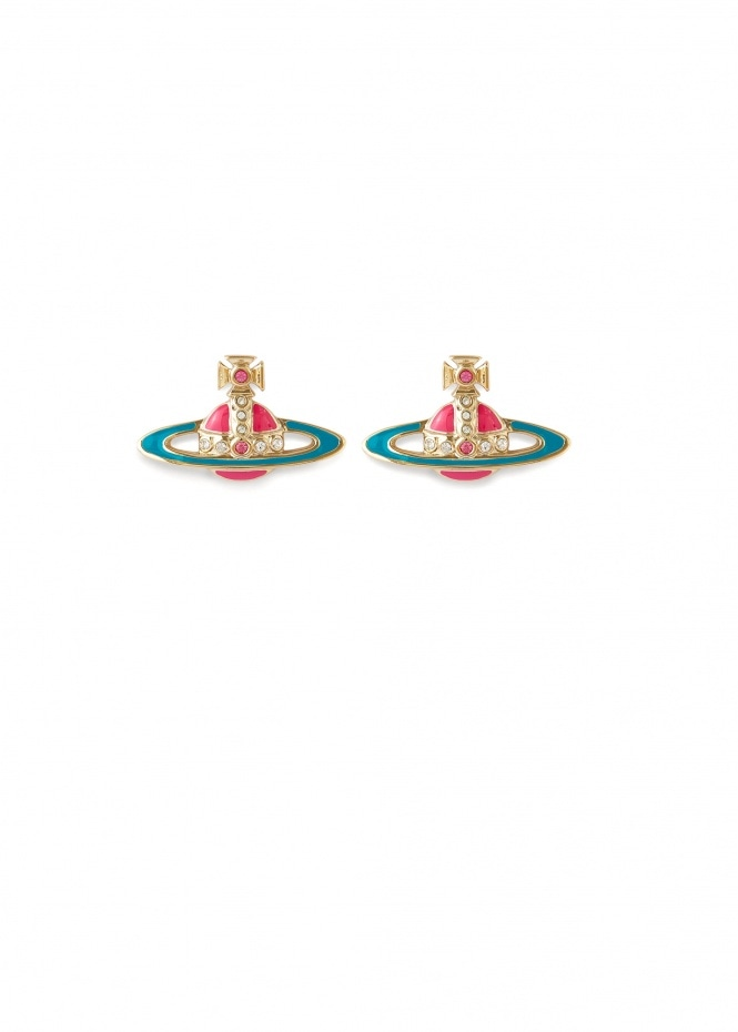 Small Neo Bas Relief Earrings - Gold / Pink / Turqouise