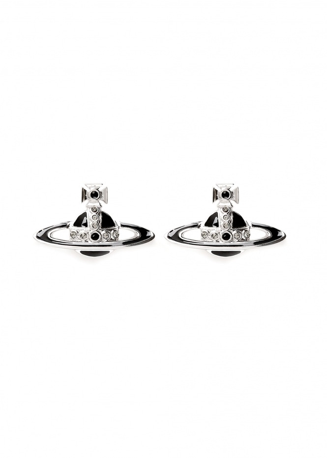 Small Neo Bas Relief Earrings - Rhodium / Black