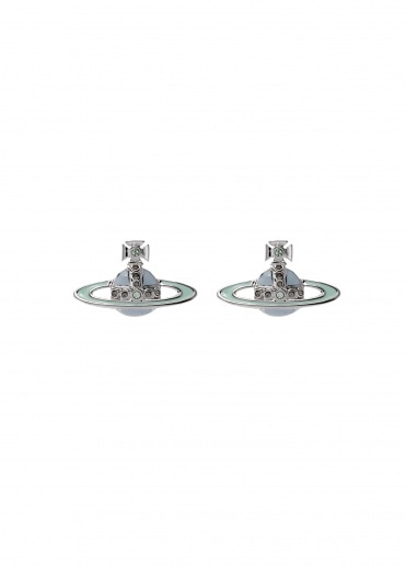 Vivienne Westwood Accessories Small Neo Bas Relief Earrings- Rhodium