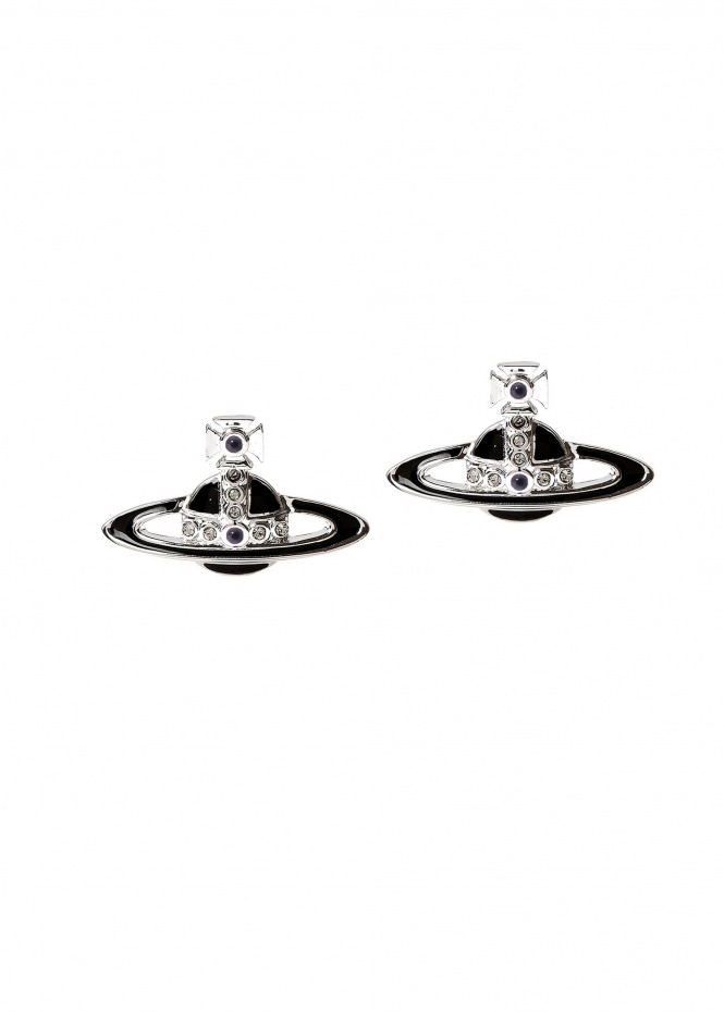 Small Neo Bas Relief Earrings - Ruthenium