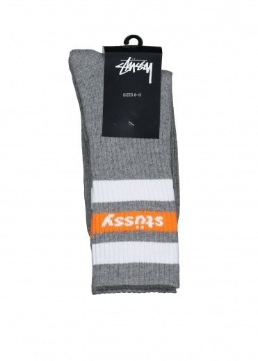 Stussy SP18 Stripe Crew Socks - Grey Heather