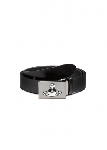 Vivienne Westwood Square Buckle Gun Metal Belt - Black