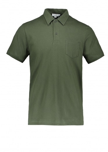 Sunspel SS Riviera Polo - Dark Olive