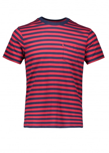 Levi's Red Tab SS Sunset Cooler Stripe - Red / Blue