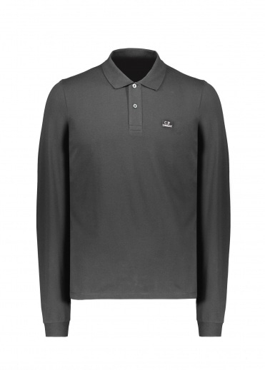 C.P. Company Stretch Piquet LS Polo 999 - Black