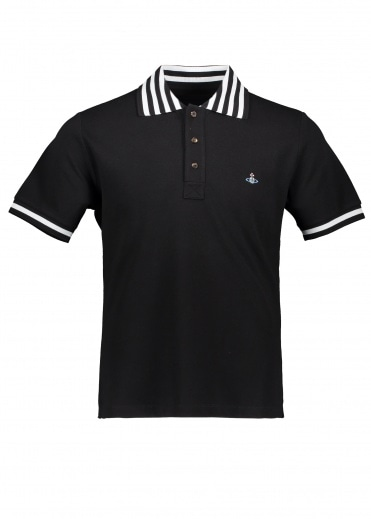 Vivienne Westwood Mens Stripe Collar Polo - Black