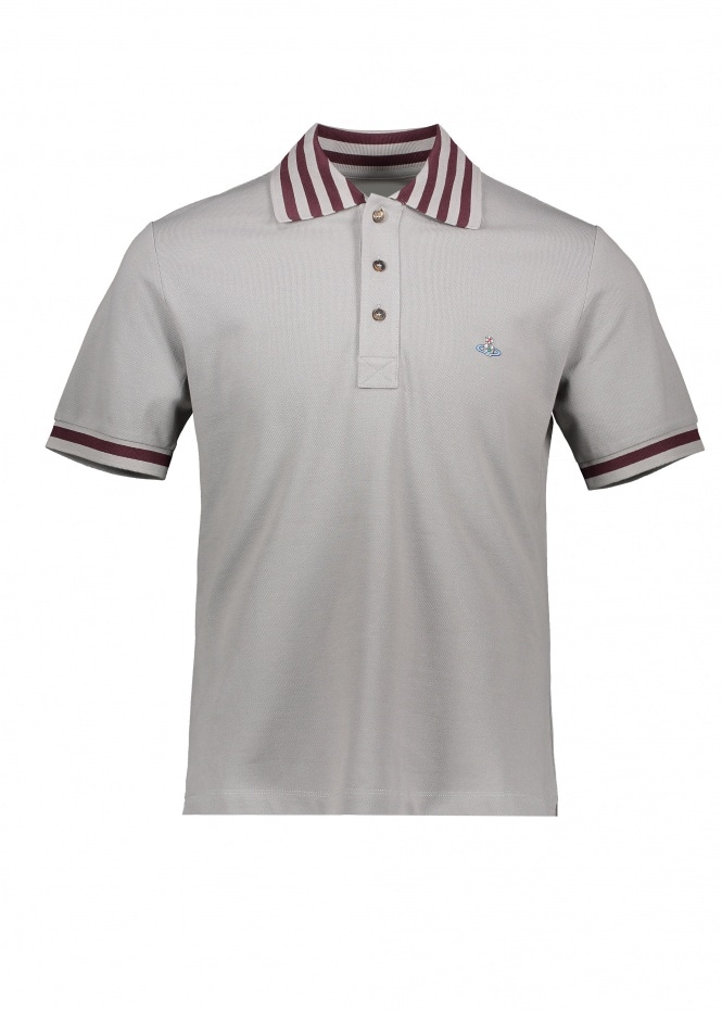 Stripe Collar Polo - Grey