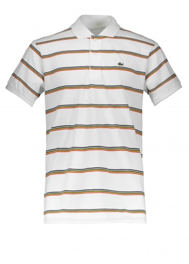 Lacoste Stripe Polo - White