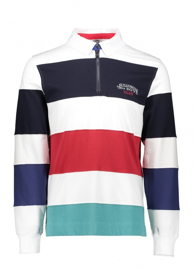 Billionaire Boys Club Striped Zip Rugby - White