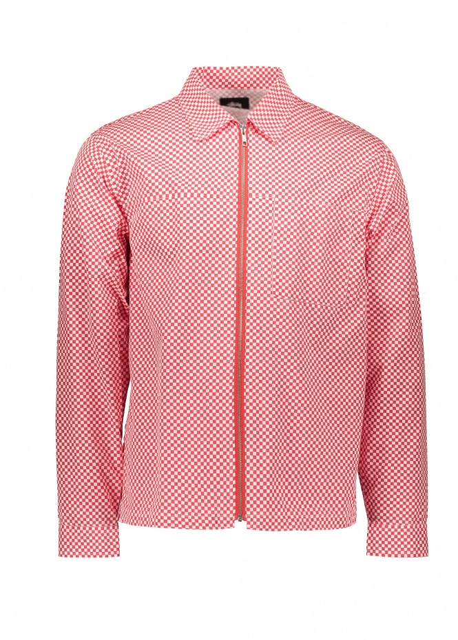 Mini Check Full Zip Shirt - Red