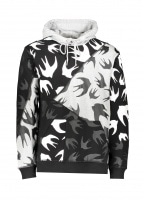 McQ by Alexander McQueen Swallow Hooded Top - Black / Mercury