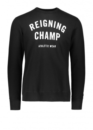 Reigning Champ Terry Gym Logo Crew Neck - Black