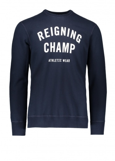 Reigning Champ Terry Gym Logo Crew Neck Navy /