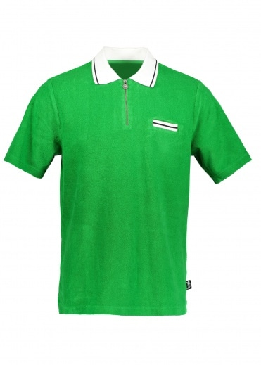 Stussy Terry Lion Zip Polo - Green