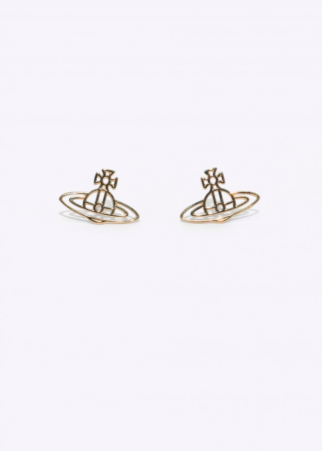 Thin Lines Orb Studs - Yellow Gold