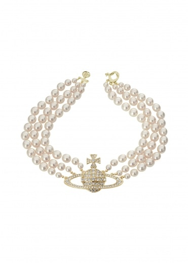 Vivienne Westwood Accessories Three Row Pearl Choker - Gold