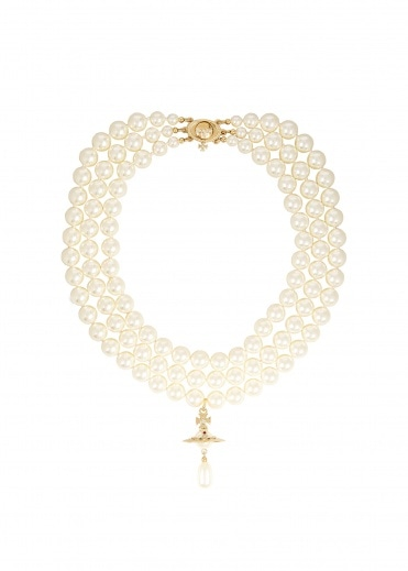 Vivienne Westwood Jewellery Three Row Pearl Drop Choker - Gold