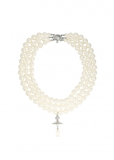 Vivienne Westwood Accessories Three Row Pearl Drop Choker - Rhodium
