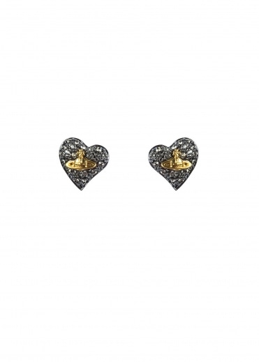 Vivienne Westwood Accessories Tiny Diamante Earrings - Gunmetal
