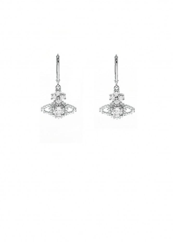 Valentina Orb Drop Earrings - Rhodium / White